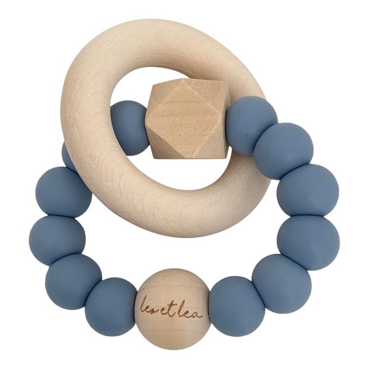 Hexa Baby Teether, Dusty Blue